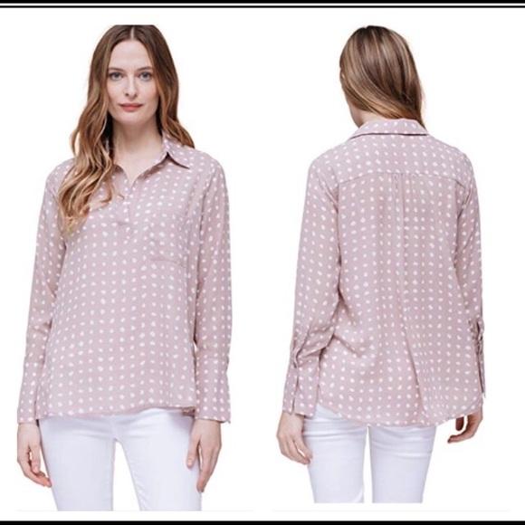Pleione Tops - Pleione blush pink and white polka dot l/s top L